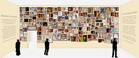 Simulación de una galería de arte a partir de los retratos de Audrey Tautou.